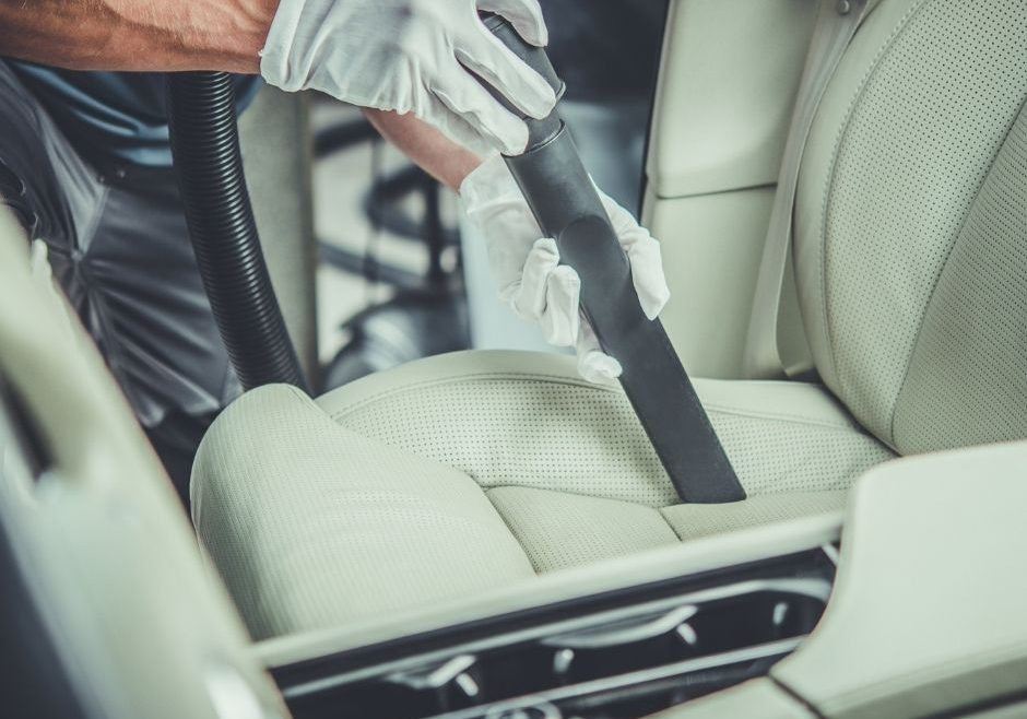 car interior being cleaned
